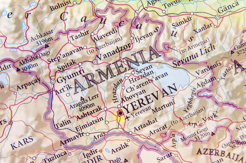 Mappa geografica dell'Armenia con le città importanti immagini stock