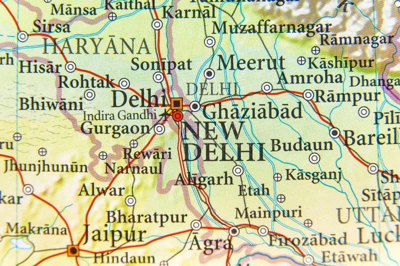 Mappa geografica della capitale Nuova Delhi dell'India immagini stock libere da diritti
