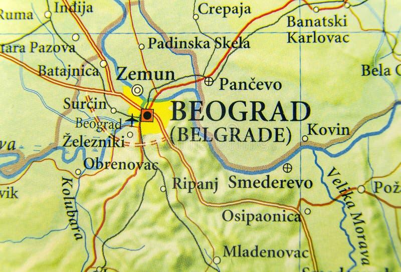 Mappa geografica di paese europeo Serbia con la città di Belgrado fotografia stock libera da diritti