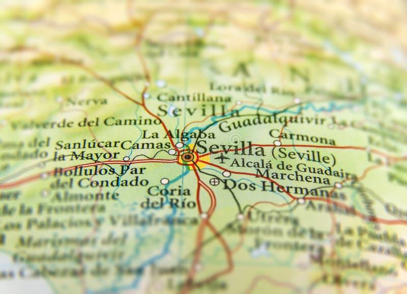 Mappa geografica di paese europeo Spagna con la città di Sevilla fotografia stock