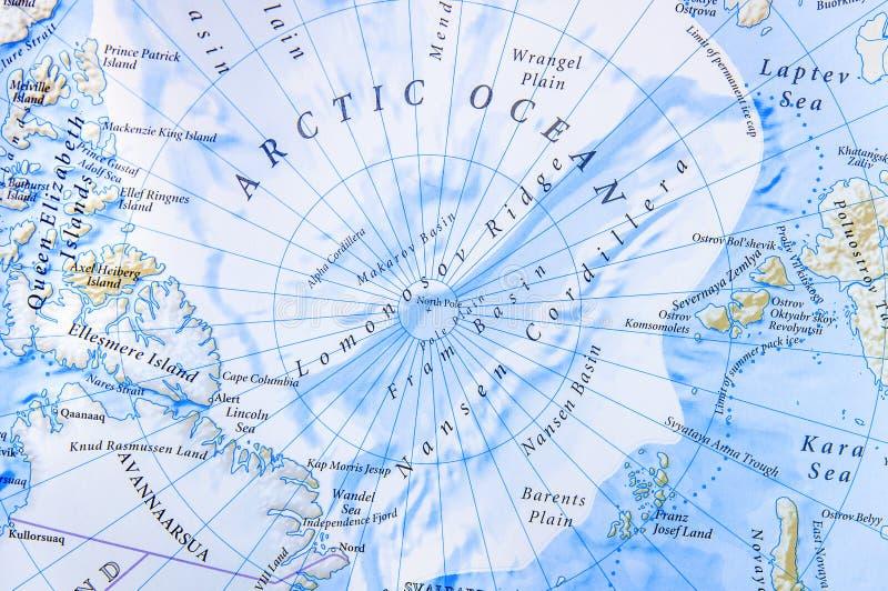 Mappa geografica di posizione di fine del mare Glaciale Artico fotografia stock libera da diritti