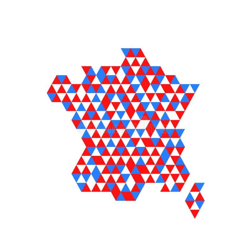 Mappa geometrica della Francia con i colori della bandiera royalty illustrazione gratis
