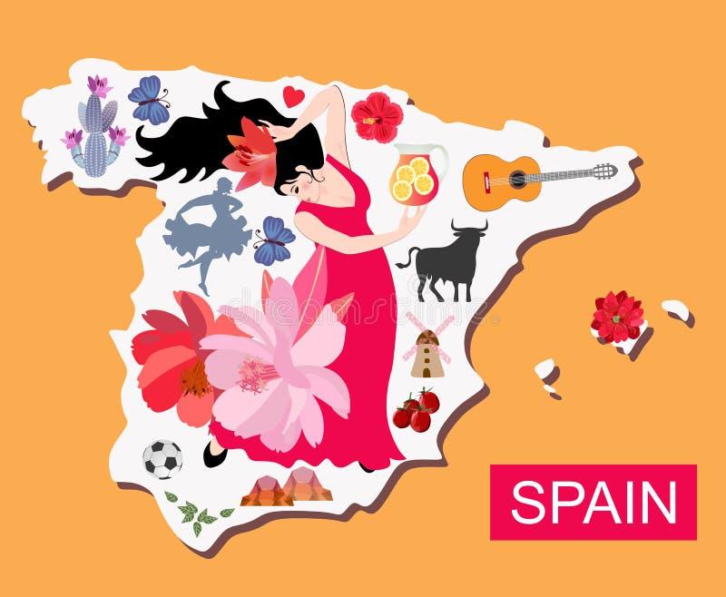 Mappa illustrata della Spagna con la ragazza del ballerino di flamenco e gli altri attractives illustrazione di stock