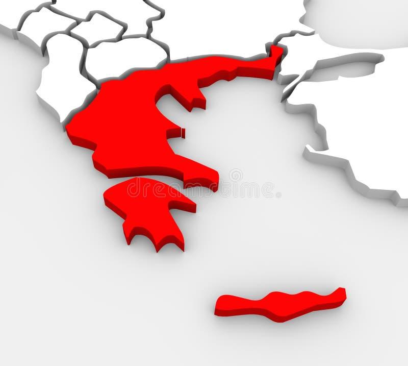 Mappa illustrata estratto 3D Europa meridionale della Grecia royalty illustrazione gratis