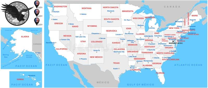 Mappa-Illustrazione-mappe unite dello stato fotografie stock