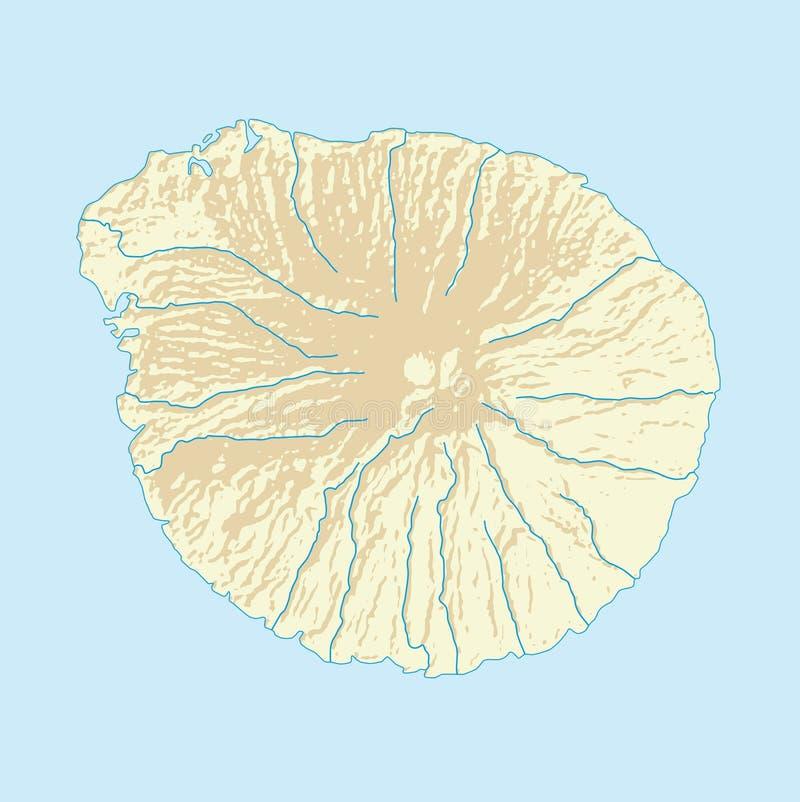 Mappa immaginaria dell'isola vulcanica con la costa ed i fiumi illustrazione vettoriale
