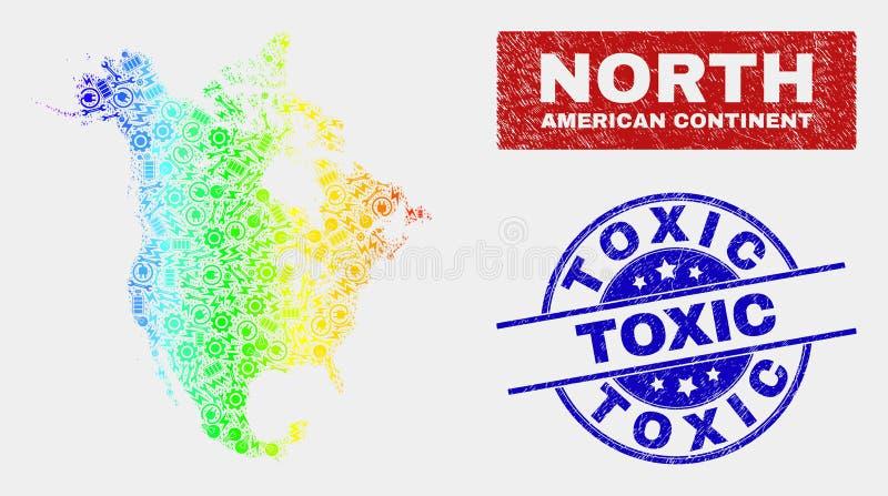 Mappa industriale di Nord America V2 di spettro e bolli tossici graffiati royalty illustrazione gratis