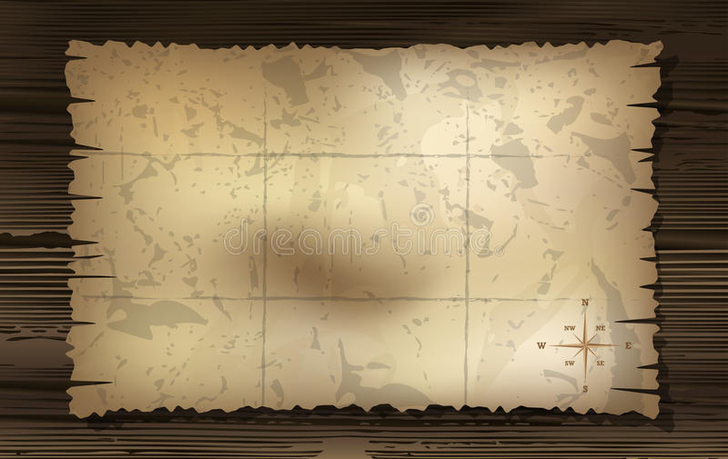Mappa invecchiata del tesoro con il fondo della bussola illustrazione di stock