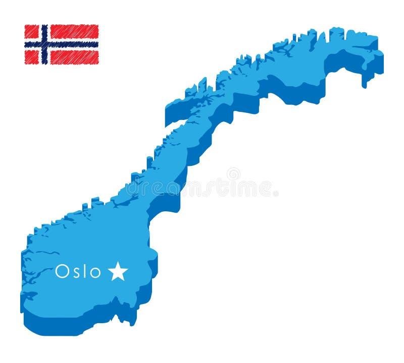 Mappa isometrica blu di paese Norvegia con il puntatore di capitale Oslo Mappa realistica di concetto di vettore 3d facile pubbli illustrazione vettoriale