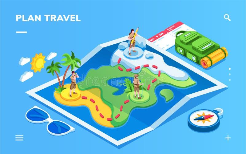 Mappa isometrica con il viaggiatore, itinerario turistico illustrazione vettoriale