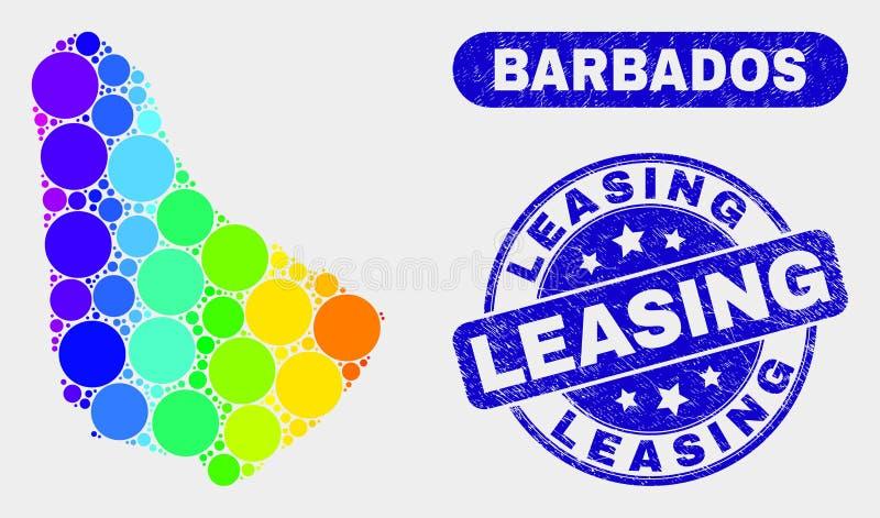Mappa luminosa delle Barbados del mosaico e bollo di leasing graffiato royalty illustrazione gratis