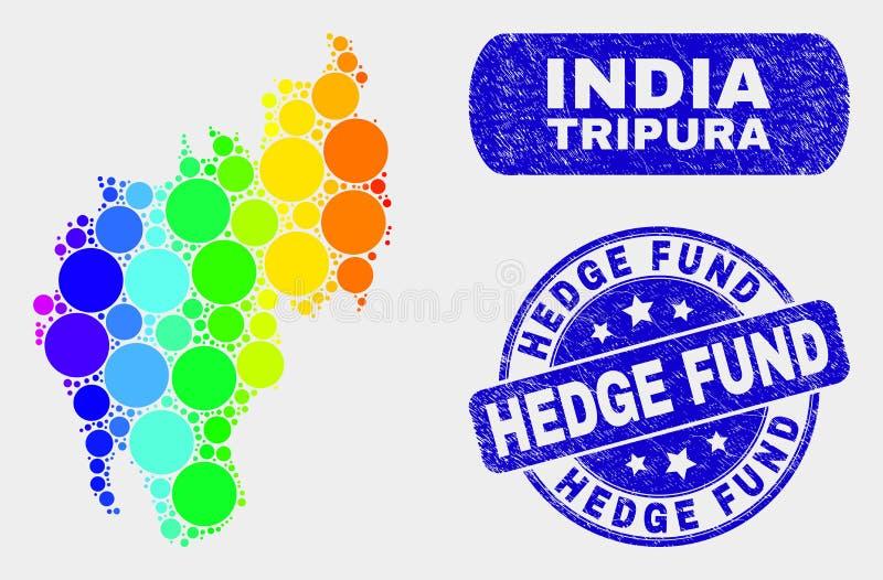 Mappa luminosa dello stato del Tripura del mosaico e filigrana graffiata di Hedge Fund illustrazione di stock