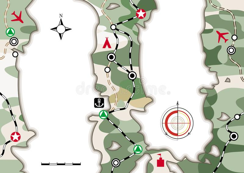 Mappa militare di navigazione Libretto infographic cartografico con il modello del cammuffamento Disposizione di carta, fondo del illustrazione di stock