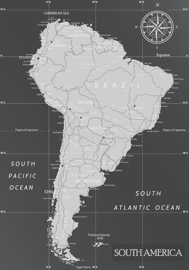 Mappa minima del Sudamerica con i colori scuri illustrazione di stock