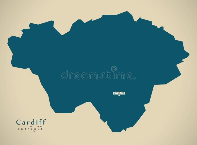 Mappa moderna - Cardiff Galles Regno Unito illustrazione di stock