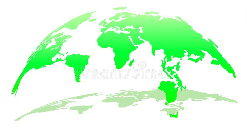 Mappa moderna 3D del mondo in Emerald Color con ombra royalty illustrazione gratis