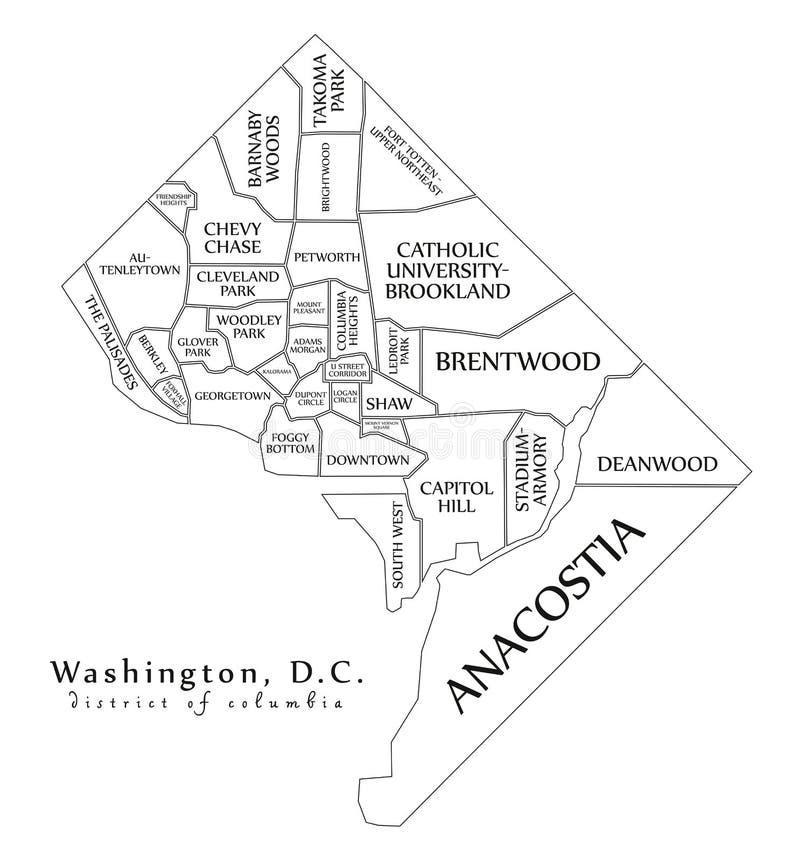 Mappa moderna della città - città del Washington DC di U.S.A. con il neighborhoo illustrazione di stock