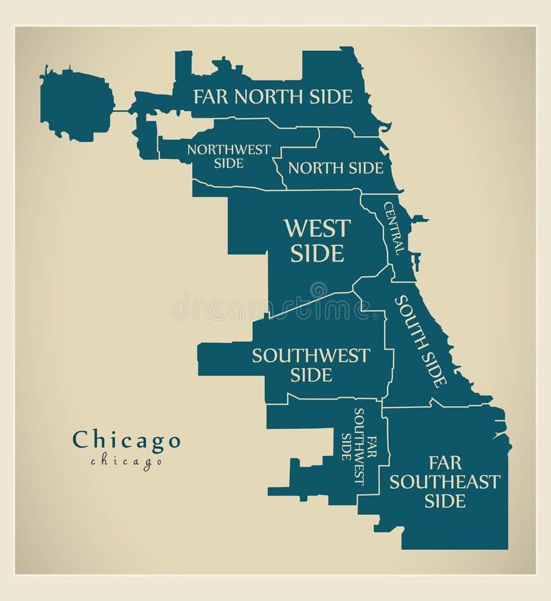 Mappa moderna della città - città di Chicago di U.S.A. con le città e il titl illustrazione vettoriale