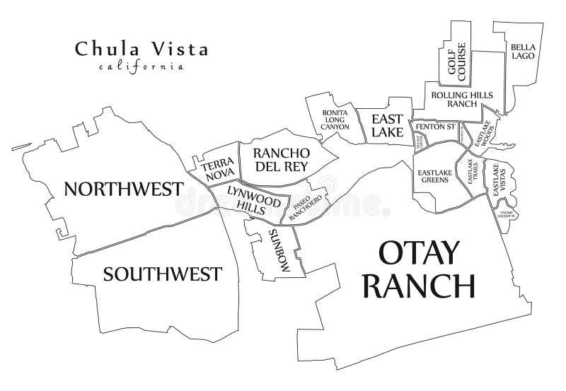 Mappa moderna della città - città di Chula Vista California di U.S.A. con Ne illustrazione vettoriale