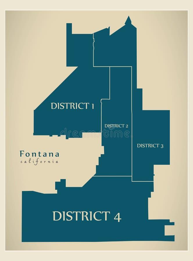 Mappa moderna della città - città di Fontana California di U.S.A. con i distretti ed i titoli royalty illustrazione gratis
