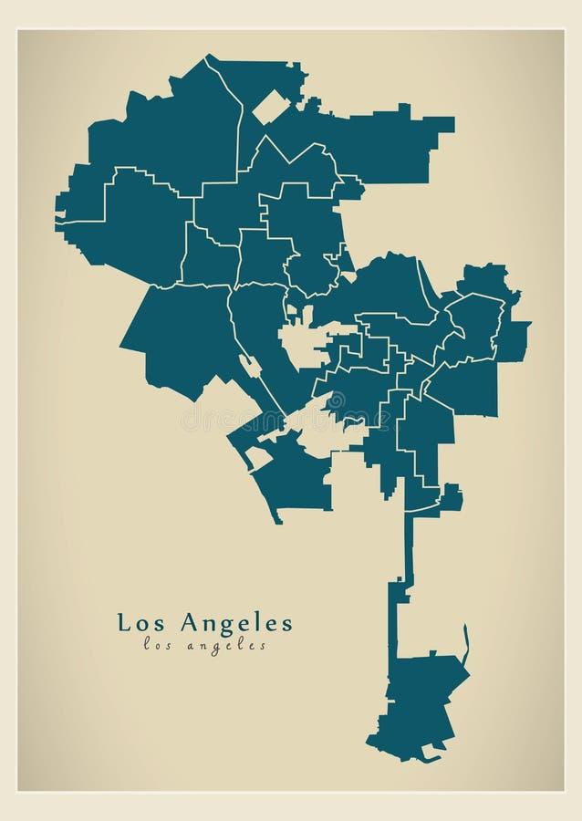 Mappa moderna della città - città di Los Angeles di U.S.A. con le città royalty illustrazione gratis