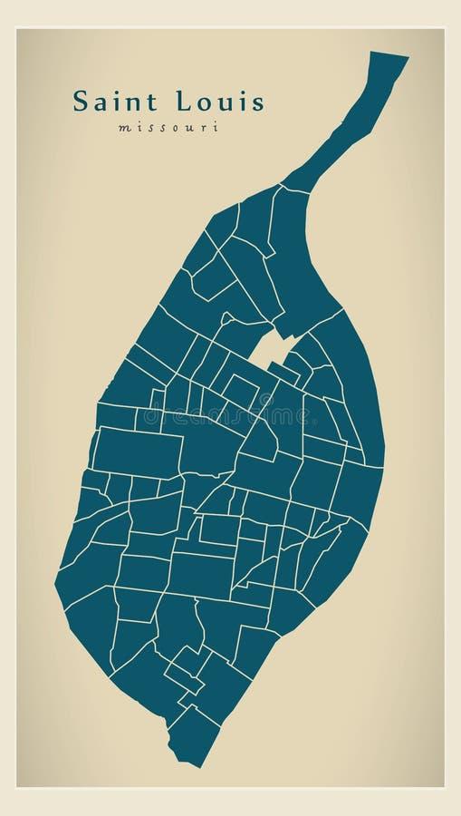 Mappa moderna della città - città di Louis Missouri del san di U.S.A. con neig illustrazione vettoriale