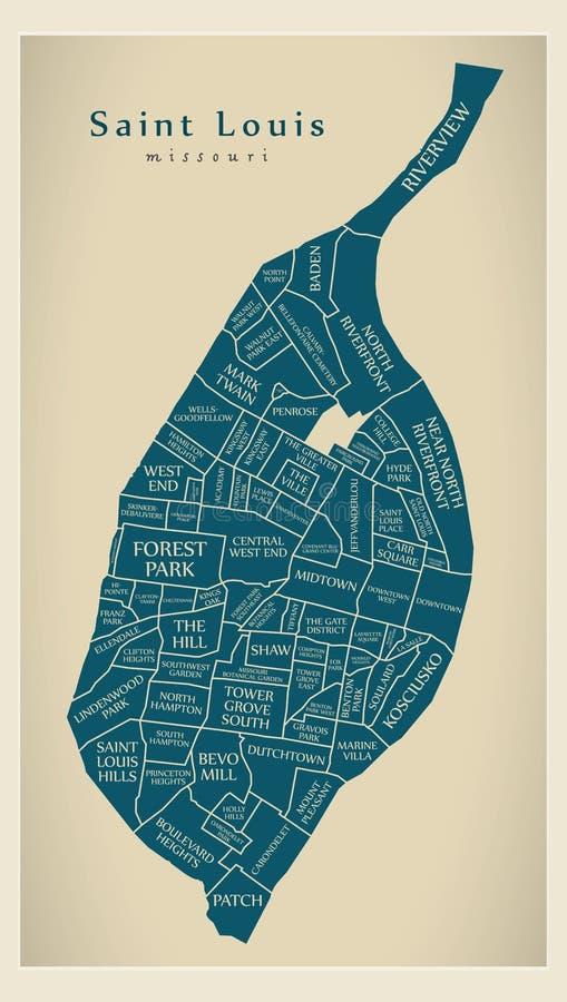 Mappa moderna della città - città di Louis Missouri del san di U.S.A. con neig royalty illustrazione gratis