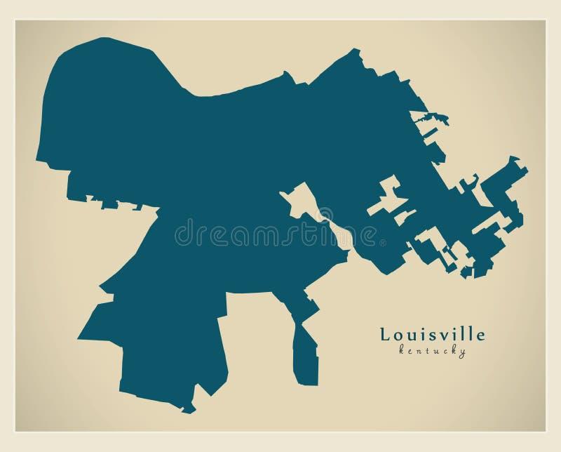 Mappa moderna della città - città di Louisville Kentucky di U.S.A. illustrazione vettoriale