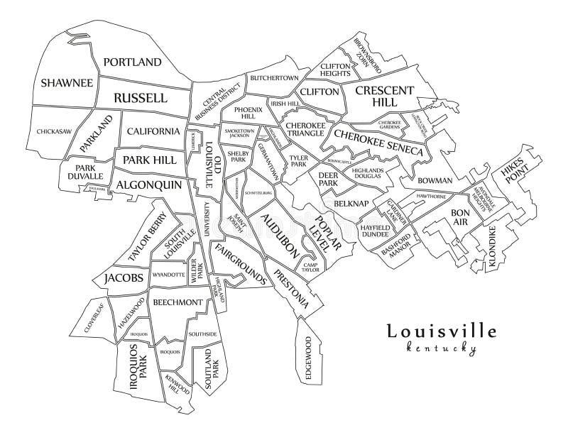 Mappa moderna della città - città di Louisville Kentucky di U.S.A. con nitrito illustrazione di stock