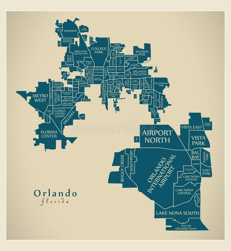 Mappa moderna della città - città di Orlando Florida di U.S.A. con neighborh illustrazione di stock