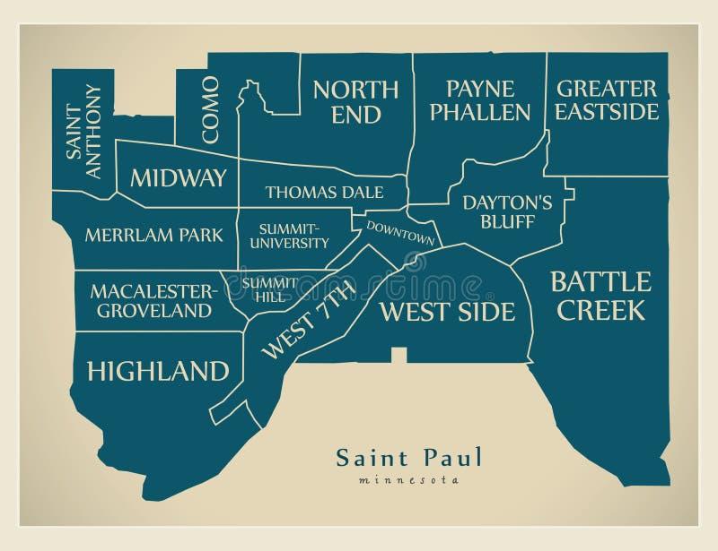 Mappa moderna della città - città di Paul Minnesota del san di U.S.A. con neig royalty illustrazione gratis