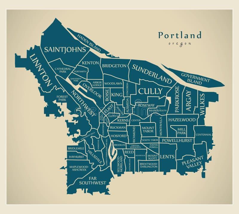 Mappa moderna della città - città di Portland Oregon di U.S.A. con neighborh royalty illustrazione gratis