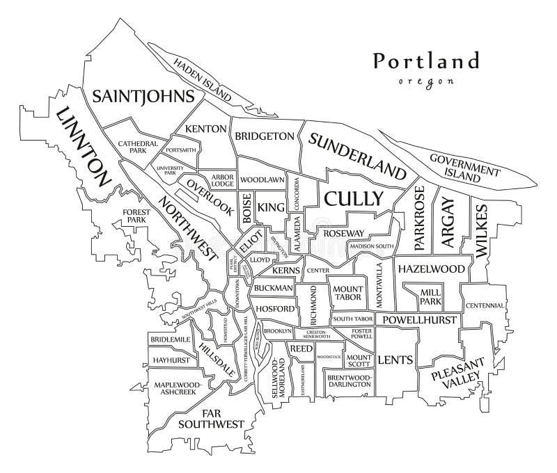 Mappa moderna della città - città di Portland Oregon di U.S.A. con neighborh illustrazione vettoriale