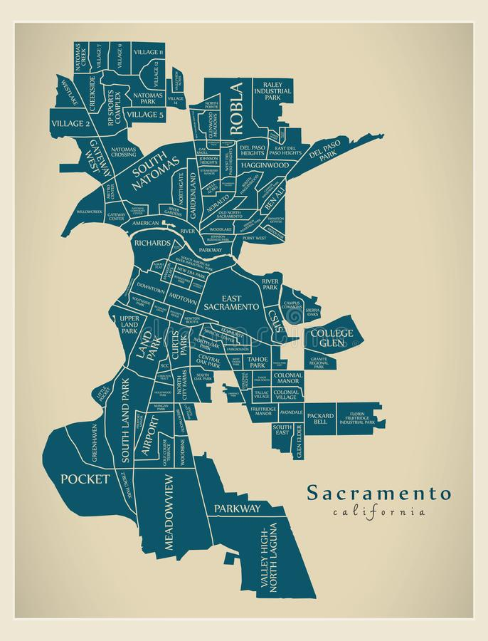Mappa moderna della città - città di Sacramento California di U.S.A. con i NEI illustrazione di stock