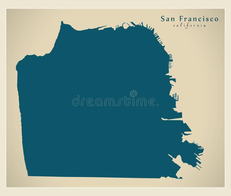 Mappa moderna della città - città di San Francisco di U.S.A. royalty illustrazione gratis