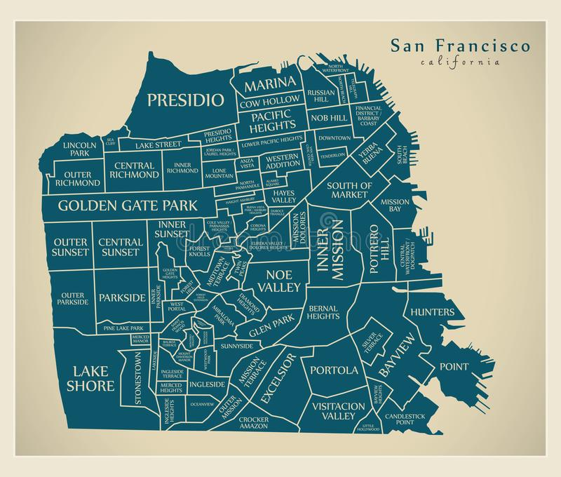 Mappa moderna della città - città di San Francisco di U.S.A. con il neighbourho royalty illustrazione gratis