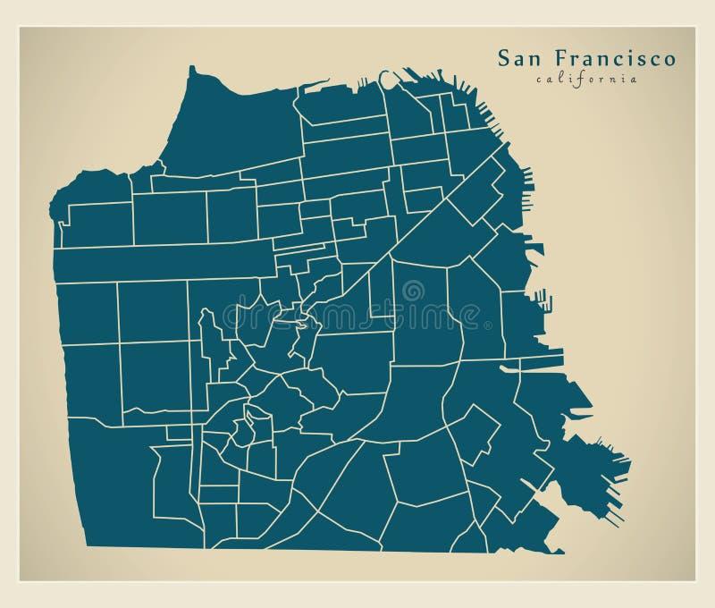 Mappa moderna della città - città di San Francisco di U.S.A. con il neighbourho illustrazione vettoriale