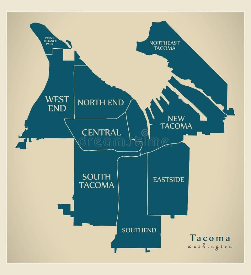 Mappa moderna della città - città di Tacoma Washington di U.S.A. con le vicinanze ed i titoli illustrazione vettoriale