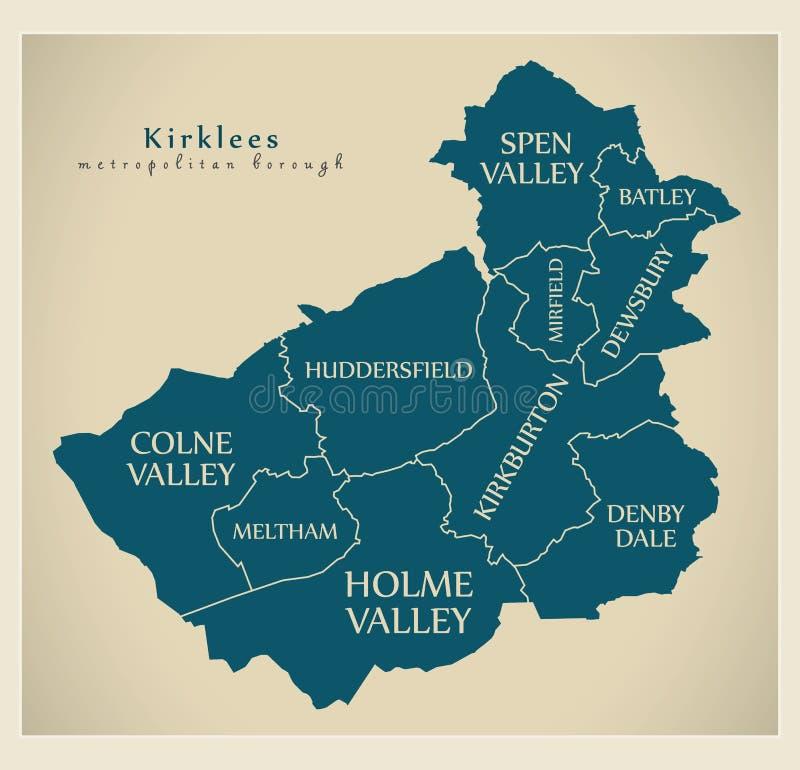 Mappa moderna della città - città metropolitana di Kirklees dell'Inghilterra con illustrazione vettoriale