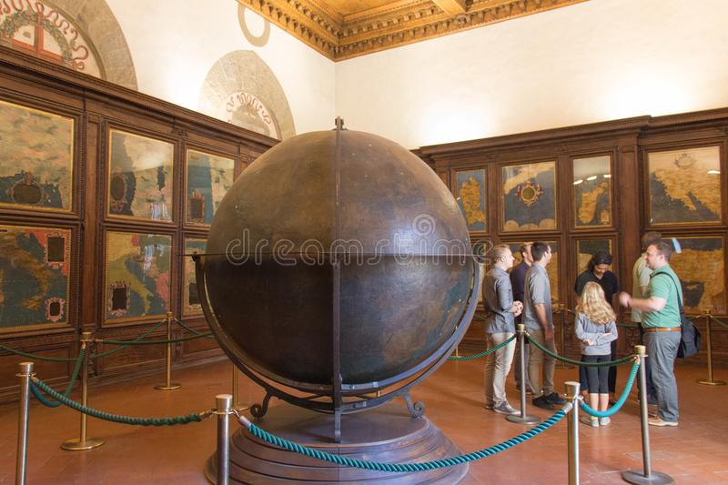 Mappa Mundi in the Hall of geographical maps in Palazzo Vecchio, Florence, Tuscany, Italy. stock image
