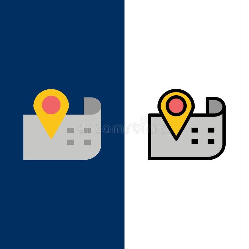 Mappa, navigazione, icone di posizione Il piano e la linea icona riempita hanno messo il fondo blu di vettore illustrazione di stock