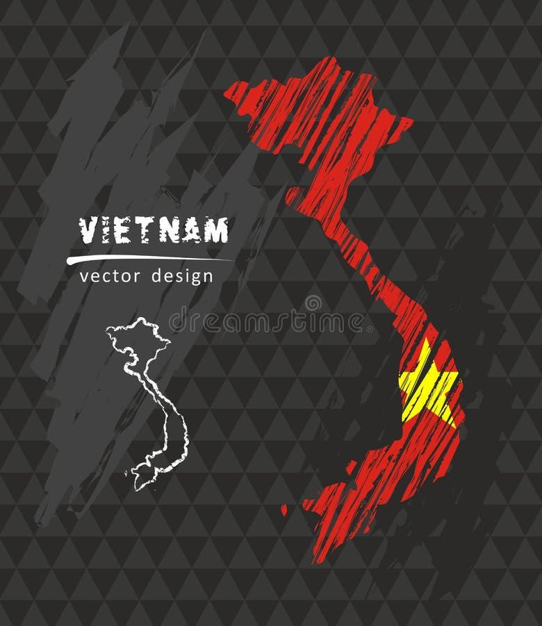 Mappa nazionale di vettore del Vietnam con la bandiera del gesso di schizzo Illustrazione disegnata a mano del gesso di schizzo illustrazione vettoriale
