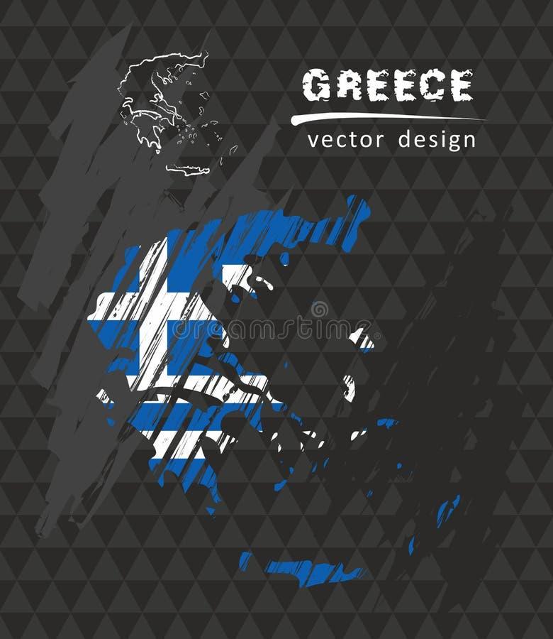 Mappa nazionale di vettore della Grecia con la bandiera del gesso di schizzo Illustrazione disegnata a mano del gesso di schizzo royalty illustrazione gratis