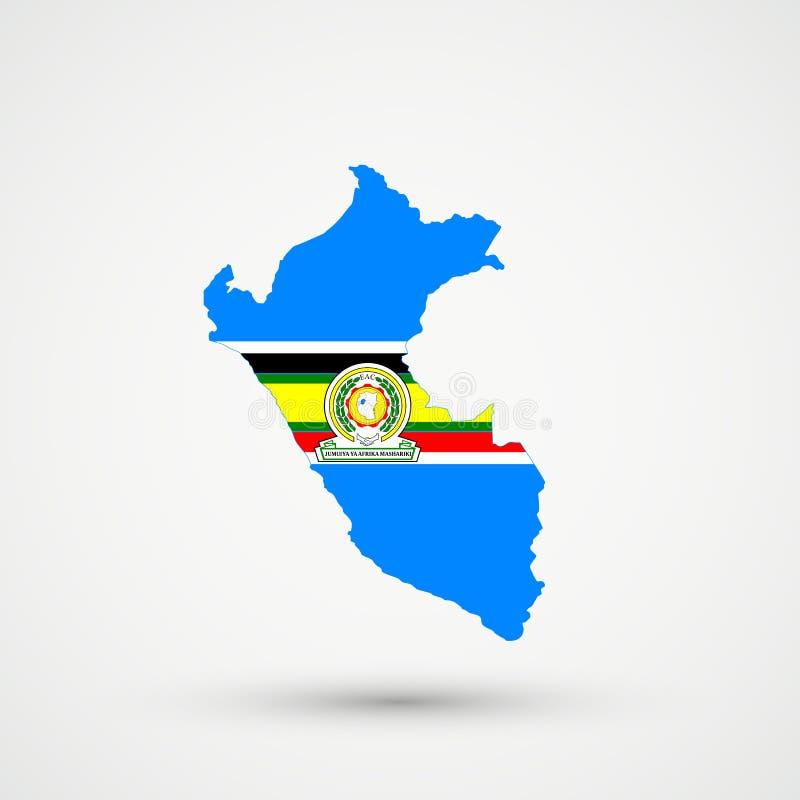 Mappa nei colori della bandiera della Comunità africana orientale, vettore editabile del Perù illustrazione di stock