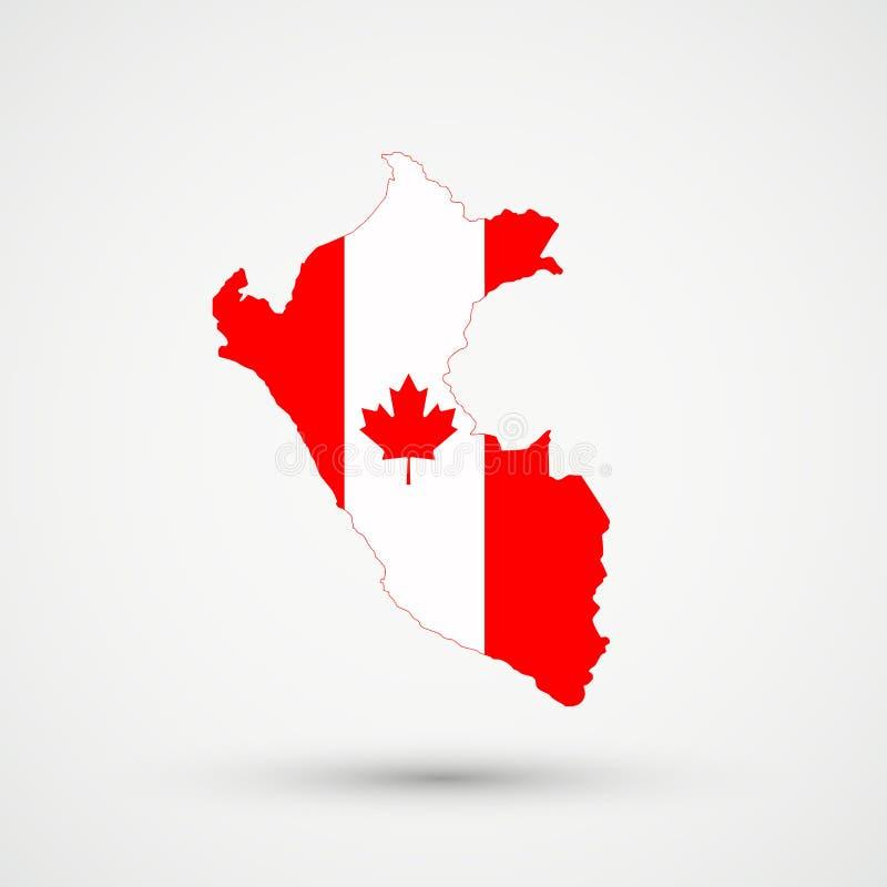 Mappa nei colori della bandiera del Canada, vettore editabile del Perù royalty illustrazione gratis
