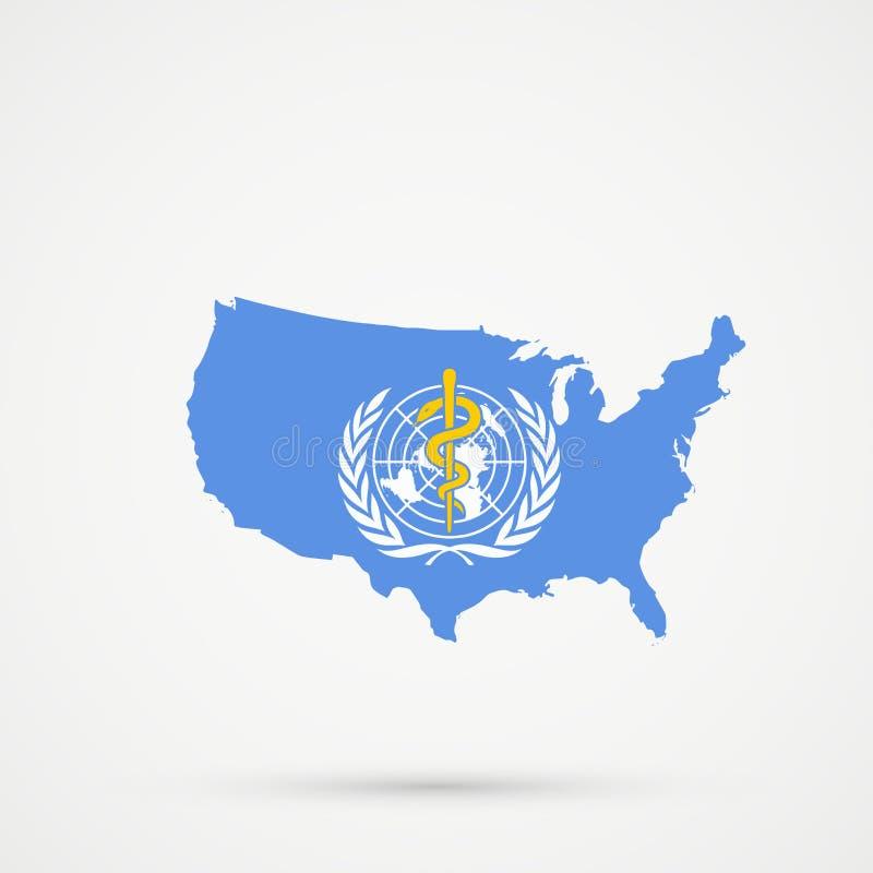 Mappa nei colori della bandiera del WHO dell'organizzazione mondiale della sanità, vettore editabile degli Stati Uniti d'America  royalty illustrazione gratis
