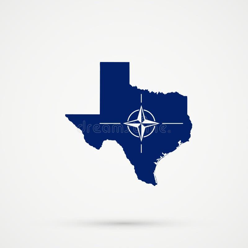 Mappa nei colori della bandiera di NATO di organizzazione del trattato del nord Atlantico, vettore editabile del Texas royalty illustrazione gratis