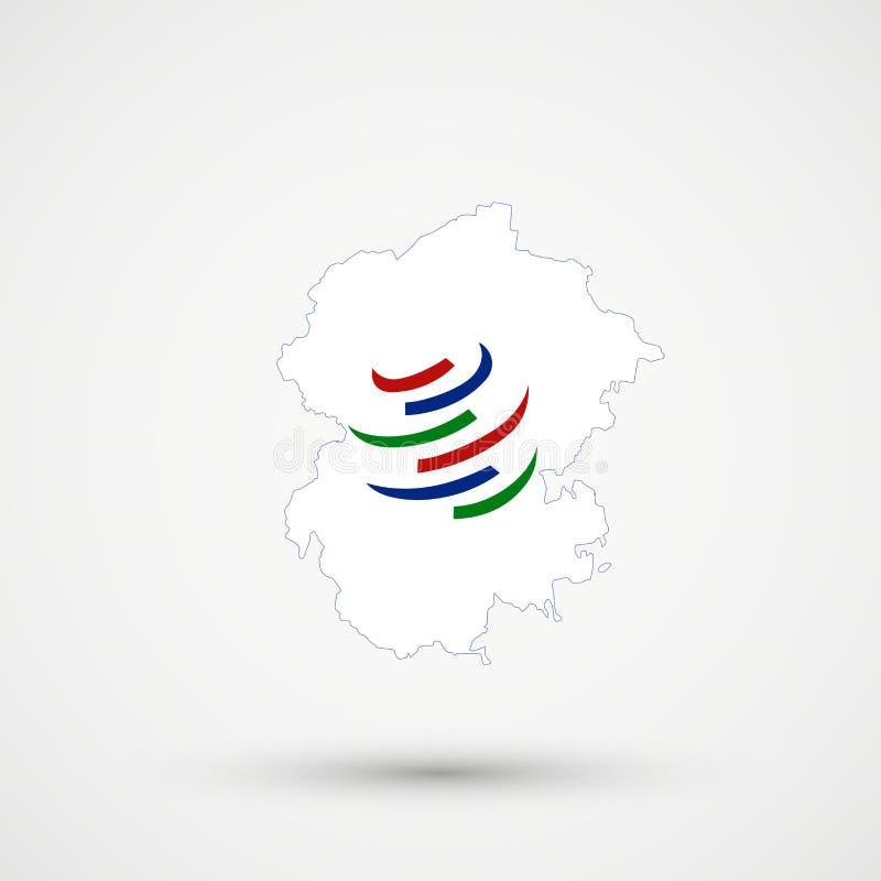 Mappa nei colori della bandiera di OMC di organizzazione Mondiale del Commercio, vettore editabile della Ciuvascia royalty illustrazione gratis