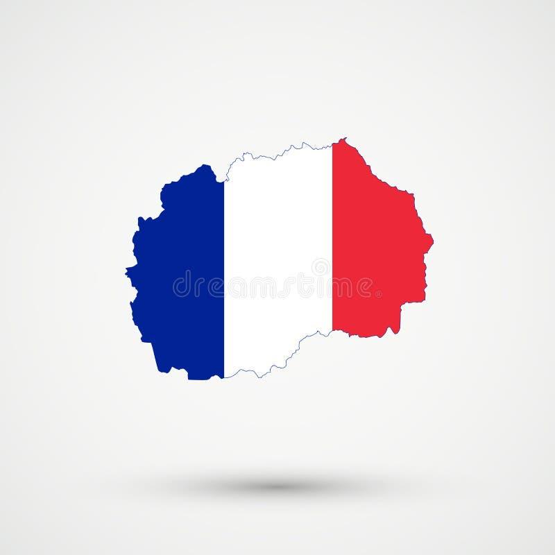 Mappa nei colori della bandiera della Francia, vettore editabile della Macedonia illustrazione di stock