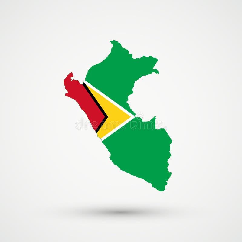 Mappa nei colori della bandiera della Guyana, vettore editabile del Perù illustrazione vettoriale